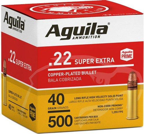 Aguila Super Extra High Velocity 22LR 40gr Copper-Plated Solid Point Ammunition 500rds