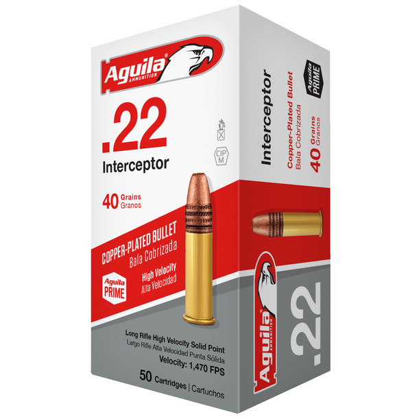 Aguila Interceptor 22 LR 40GR Copper-Plated Solid Point Ammunition 50 Rounds