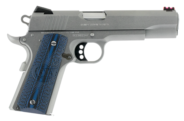 """Colt 1911 Competition 45 ACP 5"""" 8+1 Stainless Steel Scalloped Blue Checkered G10 Grip"""