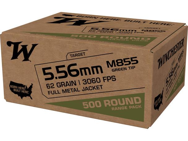 Winchester M855 5.56mm 62gr Green Tip  Ammunition 500rds