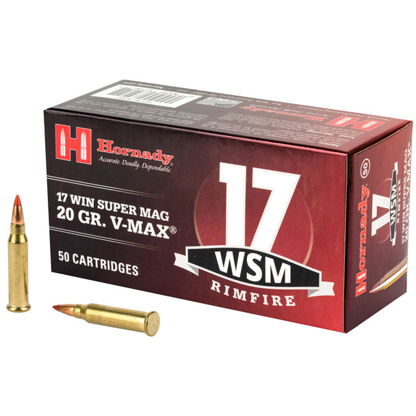 Hornady Rimfire 17 WSM 20GR V-Max Ammunition 50 Rounds