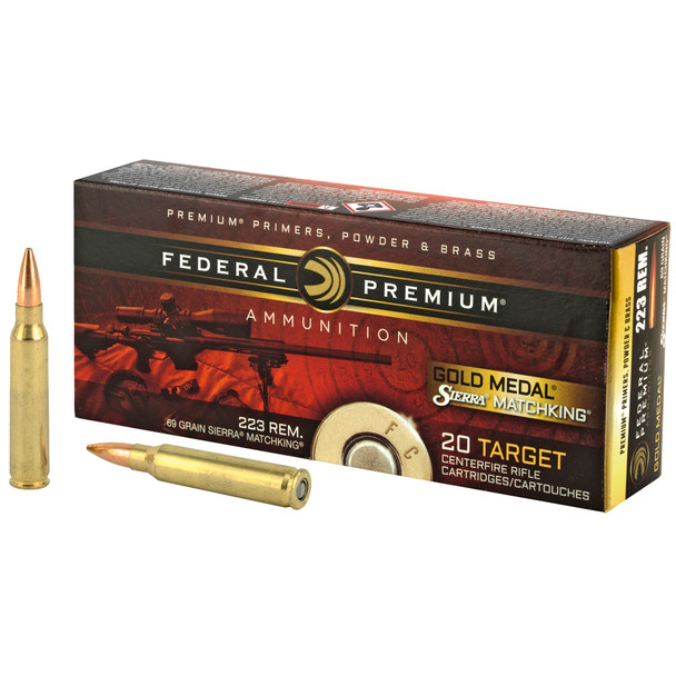 Federal Premium Gold Medal .223 Remington 69gr Sierra MatchKing Ammunition 20rds