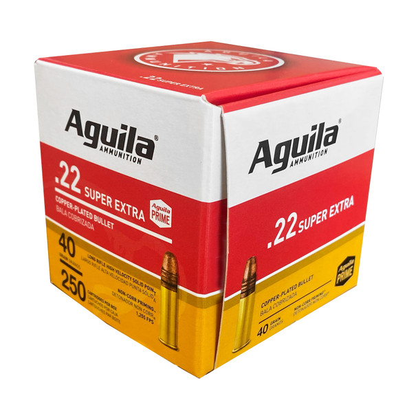 Aguila Super Extra High Velocity 22LR 40gr Copper-Plated Solid Point Ammunition 250rds
