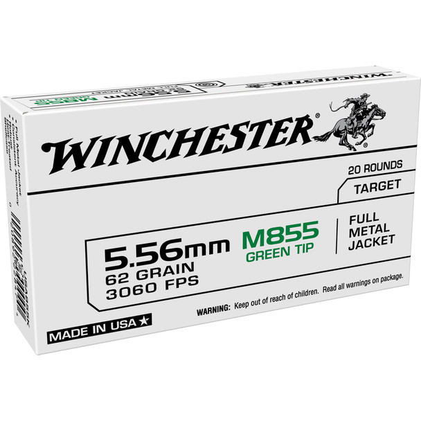 Winchester USA Ammunition 5.56x45mm NATO 62 Grain M855 SS109 Penetrator Full Metal Jacket is loaded to NATO specifications. It is not intended for use in commercial bolt-action rifles chambered in 223 Remington. The full metal jacket bullets feature a steel core and green penetrating tip. Brass cases are reloadable.