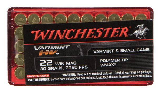 Winchester Varmint HV 22 Winchester Magnum 30GR Polymer Tip V-Max Ammunition 50rds