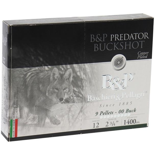 "B&P Predator 12GA 2.75"" 9 Pellets 00 Buck Ammunition 10rds"