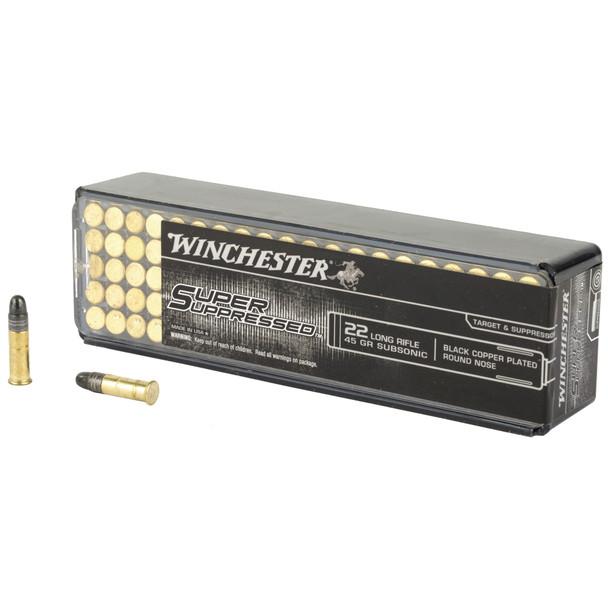 Winchester Super Suppressed 22LR 45gr Black Copper Plated RN Ammunition 100rds