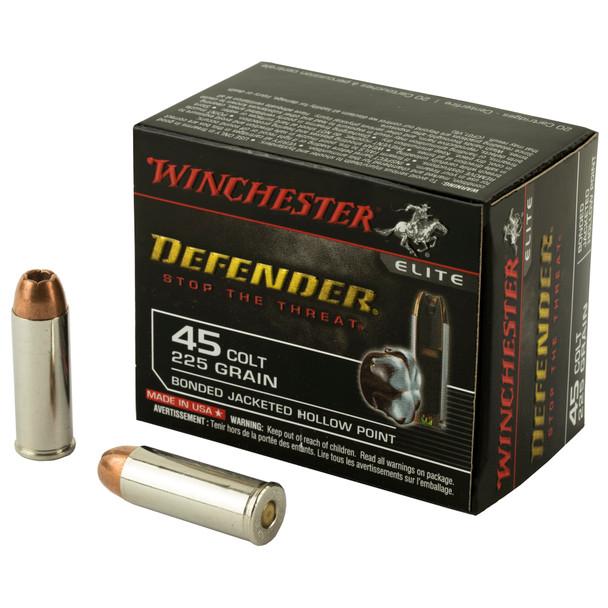 Winchester Defender 45 Colt 225gr Bonded JHP Ammunition 20rds