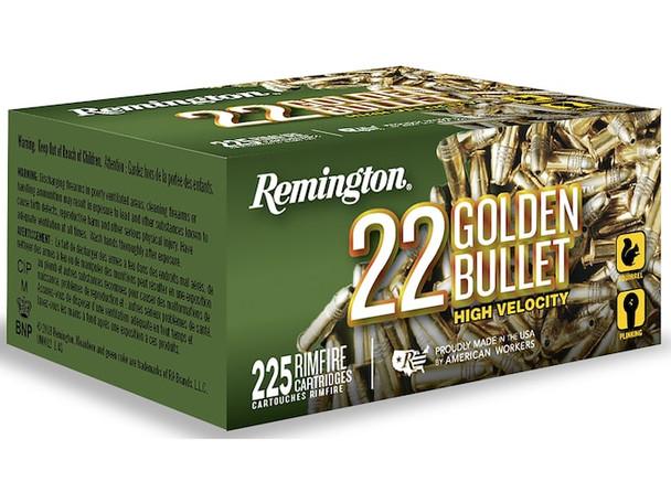 Remington Golden Bullet High Velocity 22LR 36gr Plated HP Ammunition 225rds