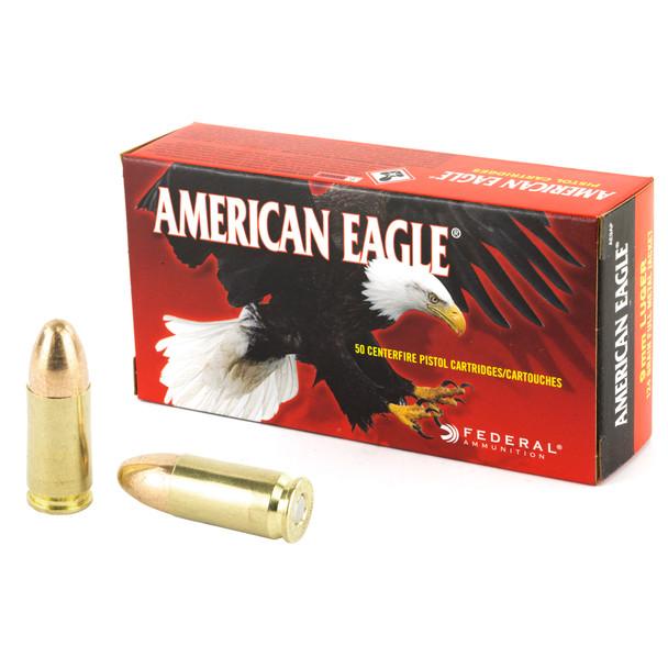 Federal American Eagle 9mm 124gr FMJ Ammunition 50rds