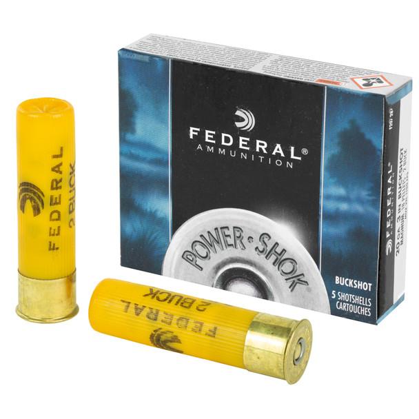 """Federal Power-Shok 20GA 3"""" 18 Pellets #2 Buck Ammunition 5rds"""
