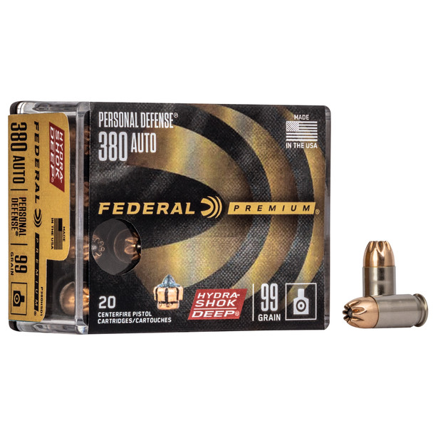 Federal Premium Hydra-Shok Deep 380ACP 99gr HP Ammunition 20rds