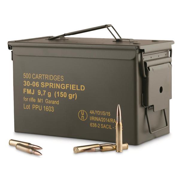 PPU 30-06 150gr FMJ Ammunition 500rds