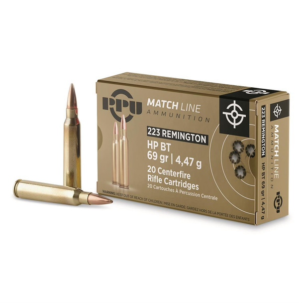PPU .223 Remington 69gr Boat-Tail Hollow Point Ammunition 20rds