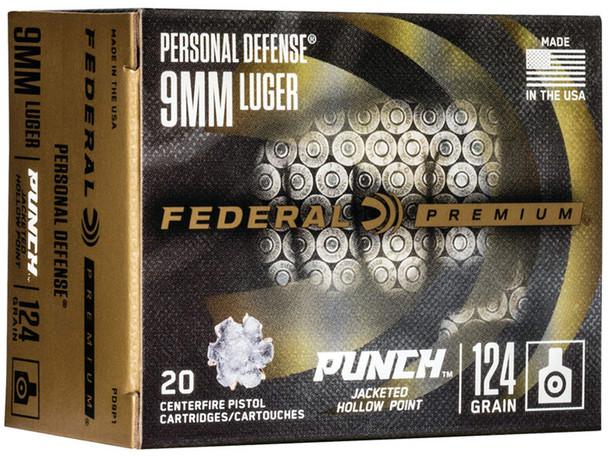 Federal Premium Personal Defense Punch 9mm 124gr JHP Ammunition 20rds