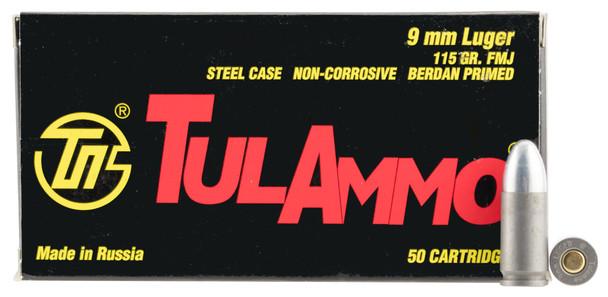 Tula 9mm 115gr FMJ Ammunition