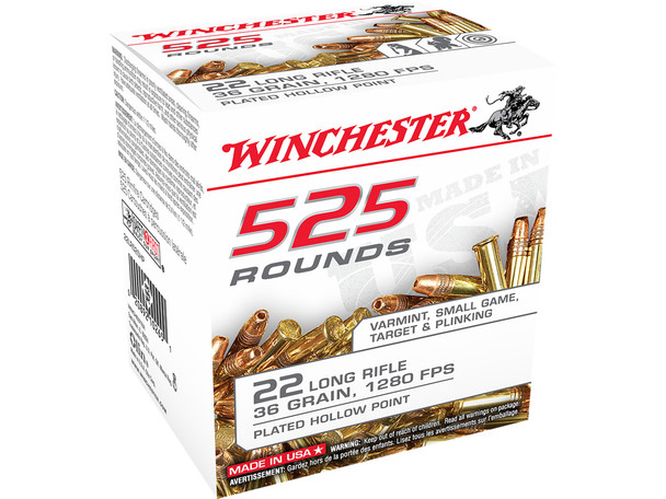 Winchester bulk ammunition is perfect for the value minded shooter. Featuring Winchester's fastest 22 Long Rifle copper plated 36-grain lead hollow point bullet that achieves a muzzle velocity of 1280 fps. This highly accurate and consistent bullet is ideal for target shooting or for small game and varmints.