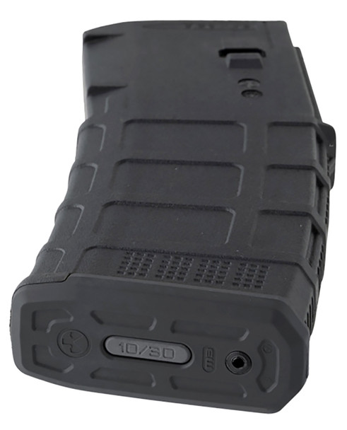 The PMAG 10/30 AR/M4 GEN M3 is a polymer magazine for AR15/M4 compatible weapons. It was designed for users who reside in areas with magazine capacity restrictions but desire a standard 30-round magazine form. Built in-line with our other PMAGS, the PMAG 10/30 provides the same next-gen impact and crush resistance, constant curve geometry, and long-life stainless-steel spring to ensure smooth feeding. Weve added a proprietary lock plate that reduces the maximum capacity to 10 rounds, and its permanently secured by an aluminum rivet. A lock plate tab that's clearly marked for capacity is also included. With the standard 30-round magazine form, the PMAG 10/30 maintains mag pouch compatibility while complying with local restrictions. ***Not designed or intended to be modified in any way.Made in the USA.