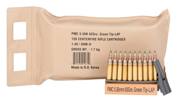 PMC M855 5.56mm LAP 62gr Green TipAmmunition 120rdsBattle Pack
