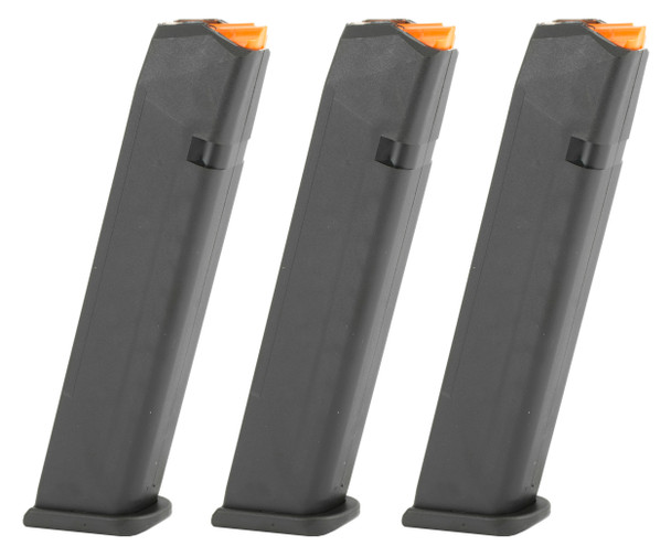 Magazine 24rds 9 mm Luger, This Glock Gen 5 magazine holds 24 rounds of your favorite 9mm ammo. This 24 round magazine has a black polymer finish, orange follower, and a low-profile but classic design. Each and every Glock magazine is constructed with a hardened steel insert that has been encased in high tech polymer to protect the magazine and prevent damage, even when dropped from great heights. Every Glock mag has a high-quality spring and follower to ensure reliable feeding from the first round fed down to the last shot. Other features of the Glock Gen 5 24 round 9mm magazine are the following:  Constructed of hardened metal encased in durable polymer. Clear witness holes for each round. Double-stack design to fit more rounds. Beveled Glock Base Plate. Sturdy spring wire internals.  Standard magazine for and also fitting: G17, G17L, G17 Gen5, G17 Gen5 MOS,  G19, G19 Gen5, G19 Gen5 MOS, G19X, G26, G26 Gen5, G26 Gen5 MOS, G34, G34 Gen5 MOS, G45, G45 MOS