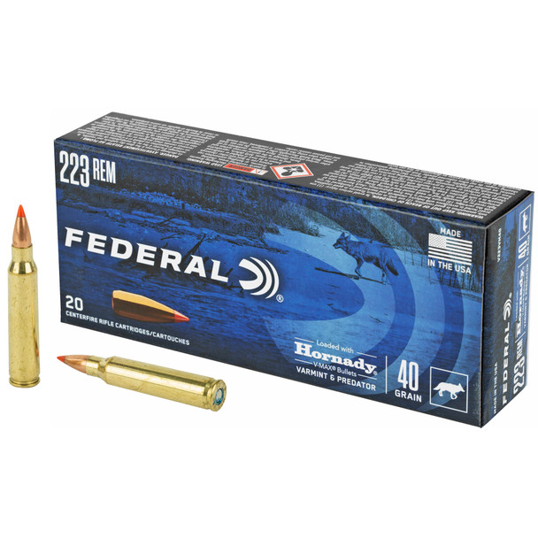 Federal Varmint & Predator .223 Remington 40gr Hornady V-Max Ammunition 20rds