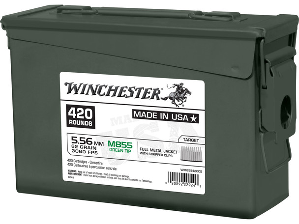 Winchester M855 5.56mm 62gr FMJ Green TipAmmunition 420rds w/Can