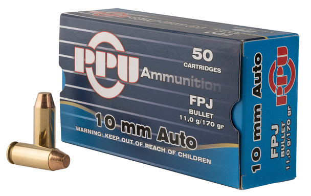 PPU's Handgun ammunition is brass cased, non-corrosive boxer primed and features improved bullet designs which result in greater energy performance, bullet expansion and reliability.