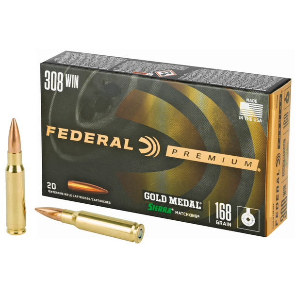 Federal Gold Medal Match .308 Winchester 168gr Boat Tail HP Ammunition 20rds