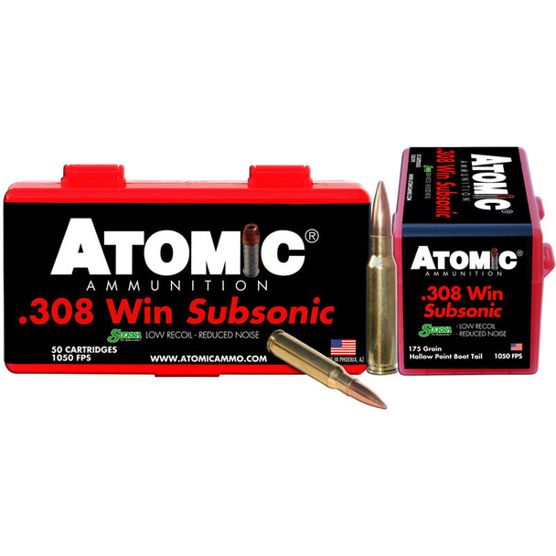 Atomic Subsonic .308 Winchester 175gr SubSonic Ammunition 50rds