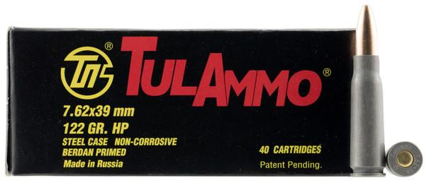TulAmmo 7.62x39mm 122gr Zinc JHP Ammuntion 40rds