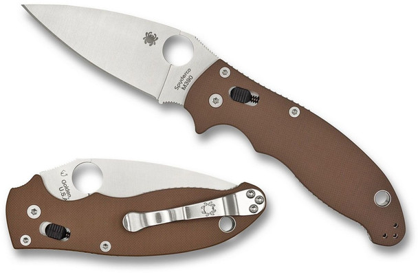 This model of the Spyderco Manix 2 comes with earth brown G-10 handle scales and a satin finished Bohler M390 steel blade.  The Manix 2 is an iconic design that has been in Spyderco's line-up since 2010. As a long standing classic, the Manix 2 sports some of the best features in modern day pocket knives. The handle is ergonomic and features plenty of jimping to ensure that the knife rests comfortably in your hand. A reversible pocket clip makes this an instant winner for left-handed people and allows for multiple carry options. A large lanyard tube is provided, which will easily accommodate multiple sizes of paracord. The ball bearing lock is simple to use and keeps fingers clear when closing the knife.