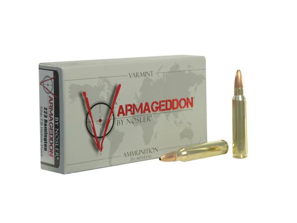 Nosler Varmageddon .223 Remington 62gr Hollow Point Flat Base Ammunition 20rds