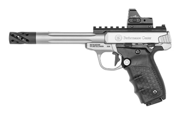 """Smith & Wesson PC Victory Target 22LR 6"""" Target Fluted Barrel with Muzzle Brake, Crimson Trace CT105 Red Dot Sight, """"hiveGrips""""& Thumb Safety"""