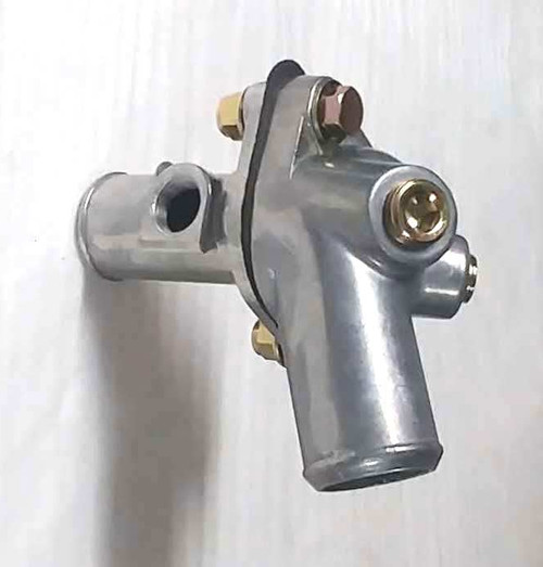 """Large Hose Inline Thermostat Kit dual 1/2 & one 3/8"""" NPT vent/sensor port 100 degree angle housing w/Thermostat Right Hand Orientation"""