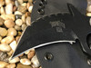 Trench Karambit with crusher point, aggressive top, Black Finish, Black Canvas Micarta Handle