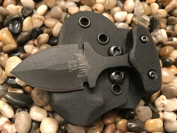 2  inch blade push dagger, Black finish, Black textured G10 handle, black blade finish