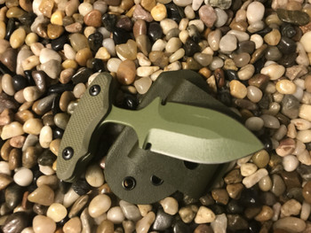 """2.5"""" Push dagger with 3 finger grip handle,OD Green textured G10, OD Green finish"""
