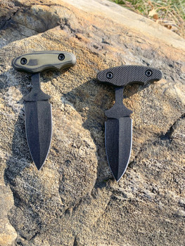 "3.0"" Push dagger with 3 finger grip handle,OD Green/Black G10 Handle, Black finish"