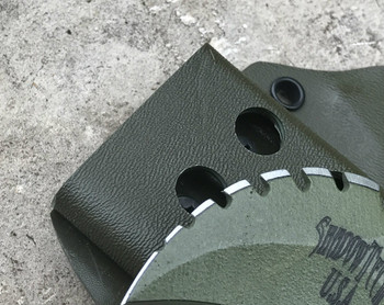C.T.K. Compact Tactical Karambit Lite, double edge with aggressive top, OD Green finish, You choose the Cord Wrap Color