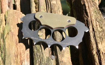 Trench Knuckles: OD Green Textured G10 with Orange G10 Liner, 440c Steel,  Black finish