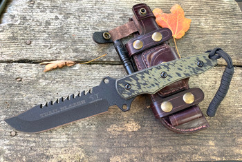 TRAIL BLAZER, Leather Sheath, 3D  OD Green/Black G10 Handle, Black Finish