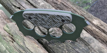 Trench Knuckles:OD Green\Tan 3D machined G10 Handle, 440c Steel, Green Powder Coat Finish