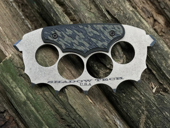 Trench Knuckles: 3D machined OD Green/ Black G10  Handle, 440c Steel, Desert Tan finish