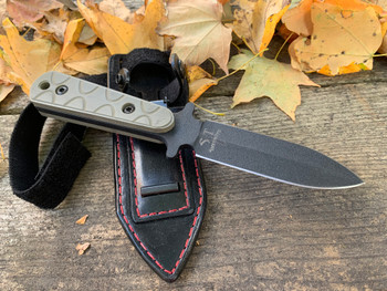 Swift boot knife, tan-Od green spiral 3d G10 handle, Black leather custom sheath with util-clip & leg strap