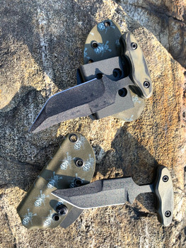"3.5"", 3 finger grip, tanto bowie Push dagger, Single edge, od green/black G10 Handle, od green AR15 skull kydex sheath"