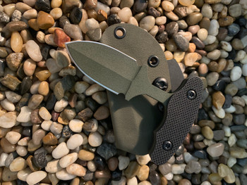 "2.5"" inch 3 finger gripPush dagger, OD-Green finish, Black Textured G10 handle"
