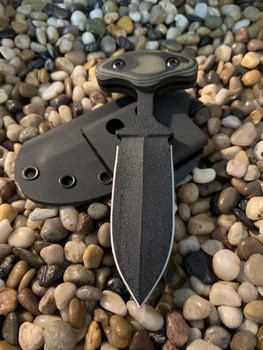 "3.5 "" Push dagger, Black finish, OD Green/Black G10 handle"