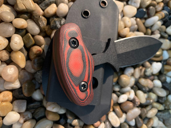 "3.5""  Push dagger,  Double edge, Black finish,Red/Black G10 Handle"