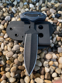"3.5""  Push dagger,  Double edge, Black finish, Blue/Black G10 Handle"