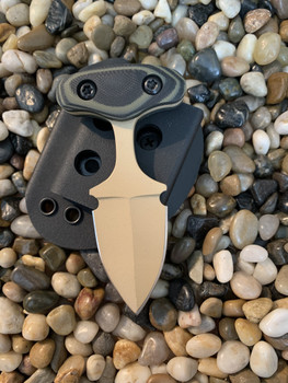 "2.0"" push dagger, Tan finish, OD Green/Black G10 handle"
